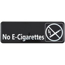 "Winco SGN-335 Black ""No E-Cigarettes"" Information Sign 9"" x 3"""