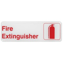 "Winco SGN-382W ""Fire Extinguisher"" Information Sign, White 3"" x 9"""