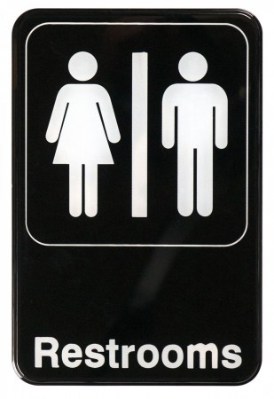 """Winco SGN-603 """"Restrooms"""" Information Sign 6"""" x 9"""""""