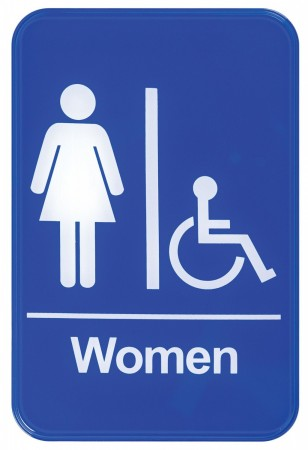 "Winco SGN-651B ""Women/Accessible"" Information Sign, Blue 6"" x 9"""