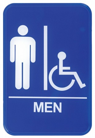 """Winco SGN-652B """"Men/Accessible"""" Information Sign, Blue 6"""" x 9"""""""