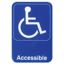 "Winco SGN-653B ""Accessible"" Information Sign, Blue 6"" x 9"""