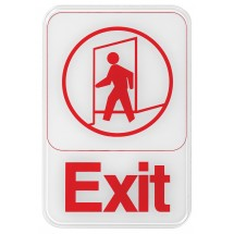 "Winco SGN-681W ""Exit"" Information Sign, White 6"" x 9"""