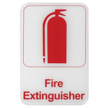 "Winco SGN-682W ""Fire Extinguisher"" Information Sign, White 6"" x 9"""
