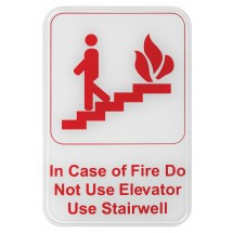 "Winco SGN-683W ""In Case of Fire Do Not Use Elevator Use Stairwell"" Information Sign, White 6"" x 9"""