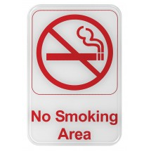 "Winco SGN-684W ""No Smoking Area"" Information Sign, White 6"" x 9"""
