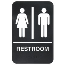 "Winco SGNB-603 ""Restroom"" Braille Information Sign, 6"" x 9"""