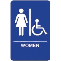 "Winco SGNB-651B ""Women/Accessible"" Braille Information Sign, Blue 6"" x 9"""
