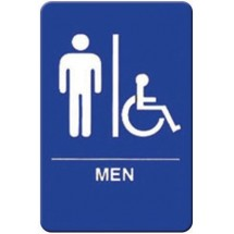 "Winco SGNB-652B ""Men/Accessible"" Braille Information Sign, Blue 6"" x 9"""
