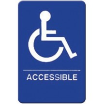 "Winco SGNB-653B ""Accessible"" Braille Information Sign, Blue 6"" x 9"""