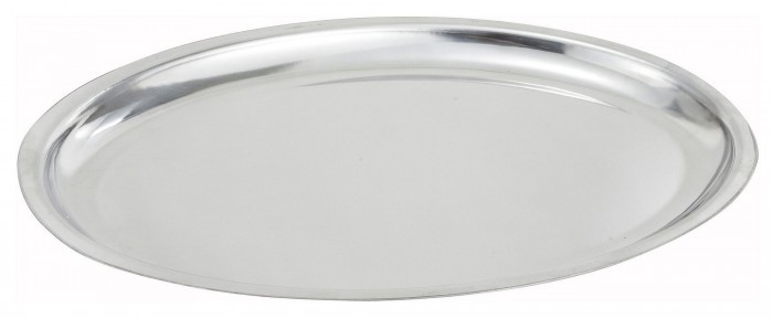 Winco SIZ-11 Oval Stainless Steel Sizzling Platter 11""