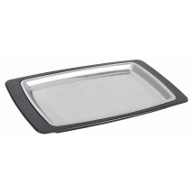 "Winco SIZ-11BST Stainless Steel Rectangular Sizzling Platter with Bakelite Underliner, 11"" x 7"""