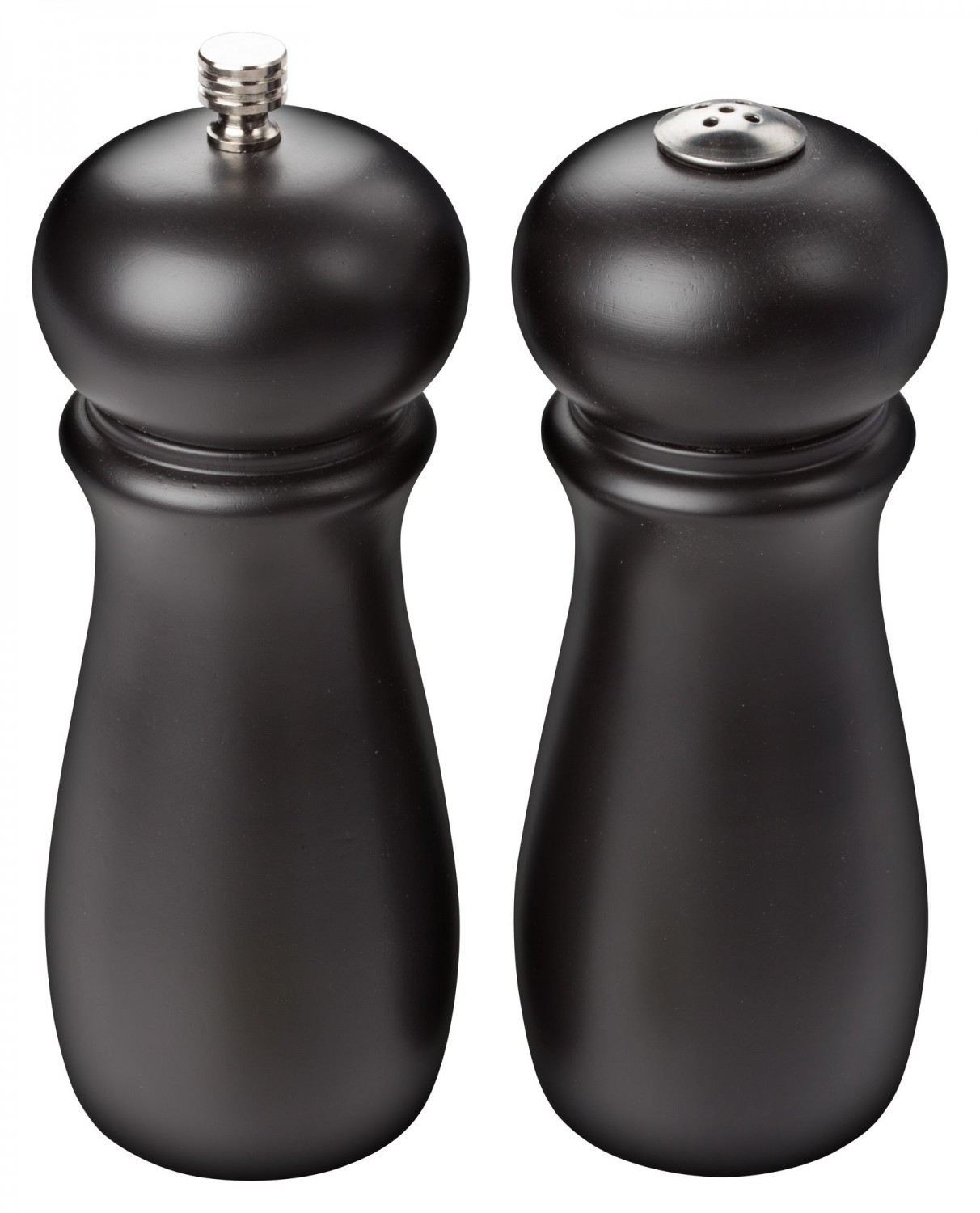 Winco SP-612 Black Rubberwood Salt Shaker and Pepper Grinder