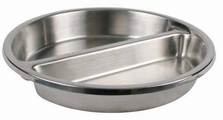 Winco SPFD-2R Round Stainless Steel Divided Food Pan