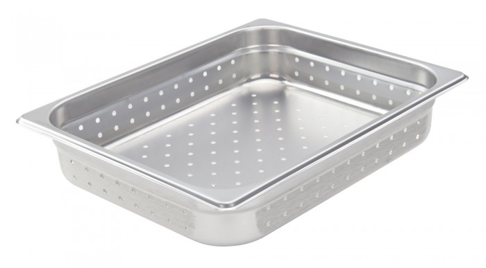 Half Size Slotted Stainless Steam Table Cover Chefs Supreme