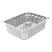 "Winco SPJH-204PF Half Size Stainless Steel Perforated Steam Pan 4"" Deep"
