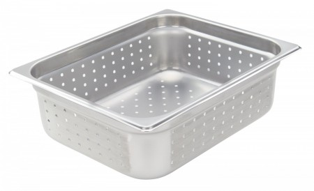 """Winco SPJH-204PF Half Size Stainless Steel Perforated Steam Pan 4"""" Deep"""
