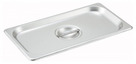 NSF Winco SPCT One-Third Size Slotted Stainless Steel Steam Table Pan Cover