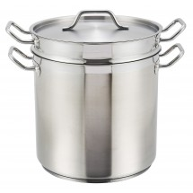 Winco SSDB-12 Stainless Steel Double Boiler with Cover 12 Qt.