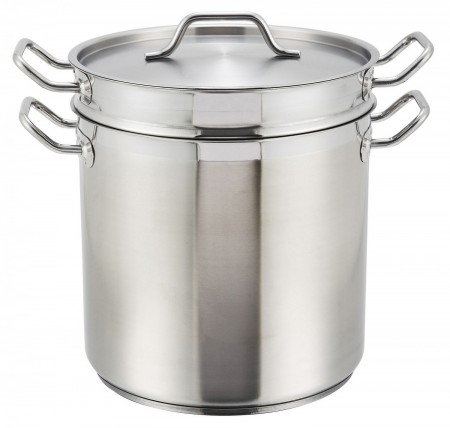 Winco SSDB-12S Stainless Steel Steamer / Pasta Cooker with Cover 12 Qt.