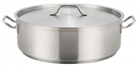 Winco SSLB-20 Stainless Steel Brazier with Cover 20 Qt.
