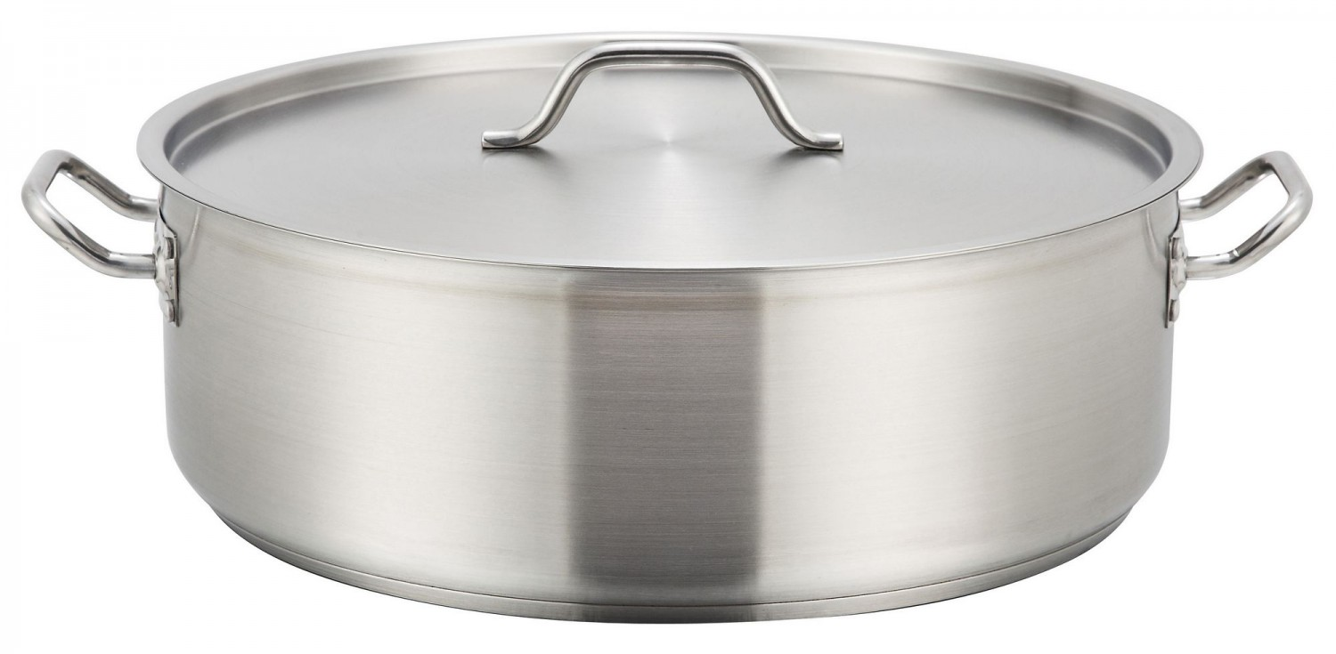 Winco SSLB-30 Stainless Steel Brazier with Cover 30 Qt.