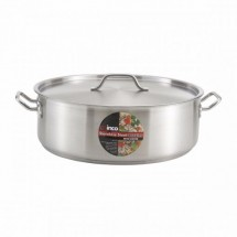 Winco SSLB-8 Premium Stainless Steel Brazier with Cover 8 Qt.