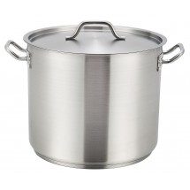 Winco SST-32 Stainless Steel Stock Pot with Cover 32 Qt.