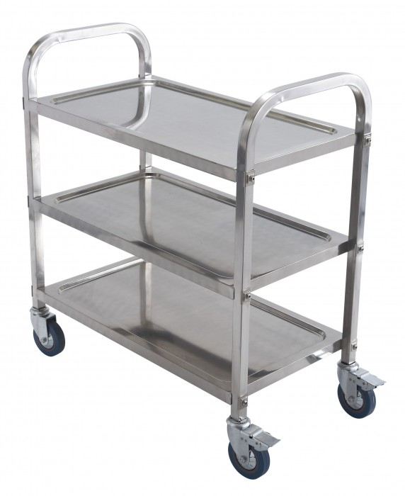 "Winco SUC-30 3-Tier Stainless Steel Trolley 30"" x 16"" x 22"""
