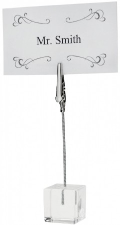 Winco TCD-4S Table Sign Clip with Acrylic Square Base - 1/2 doz
