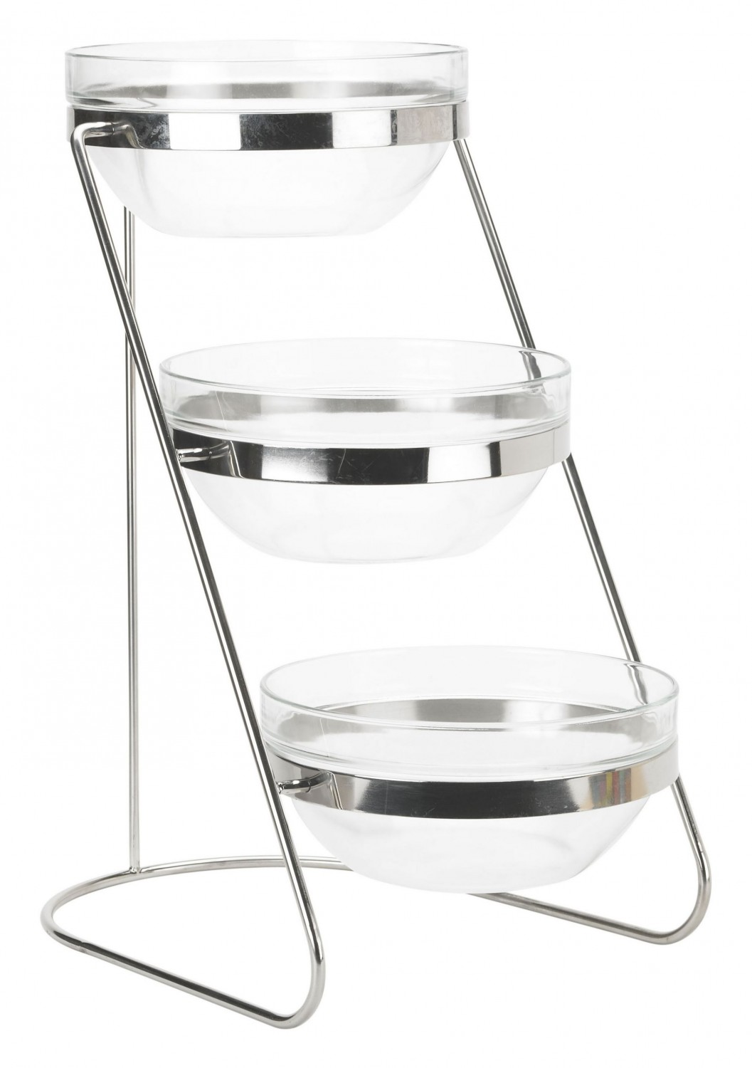 Winco TDS-3 3-Tier Glass Bowl Display Set