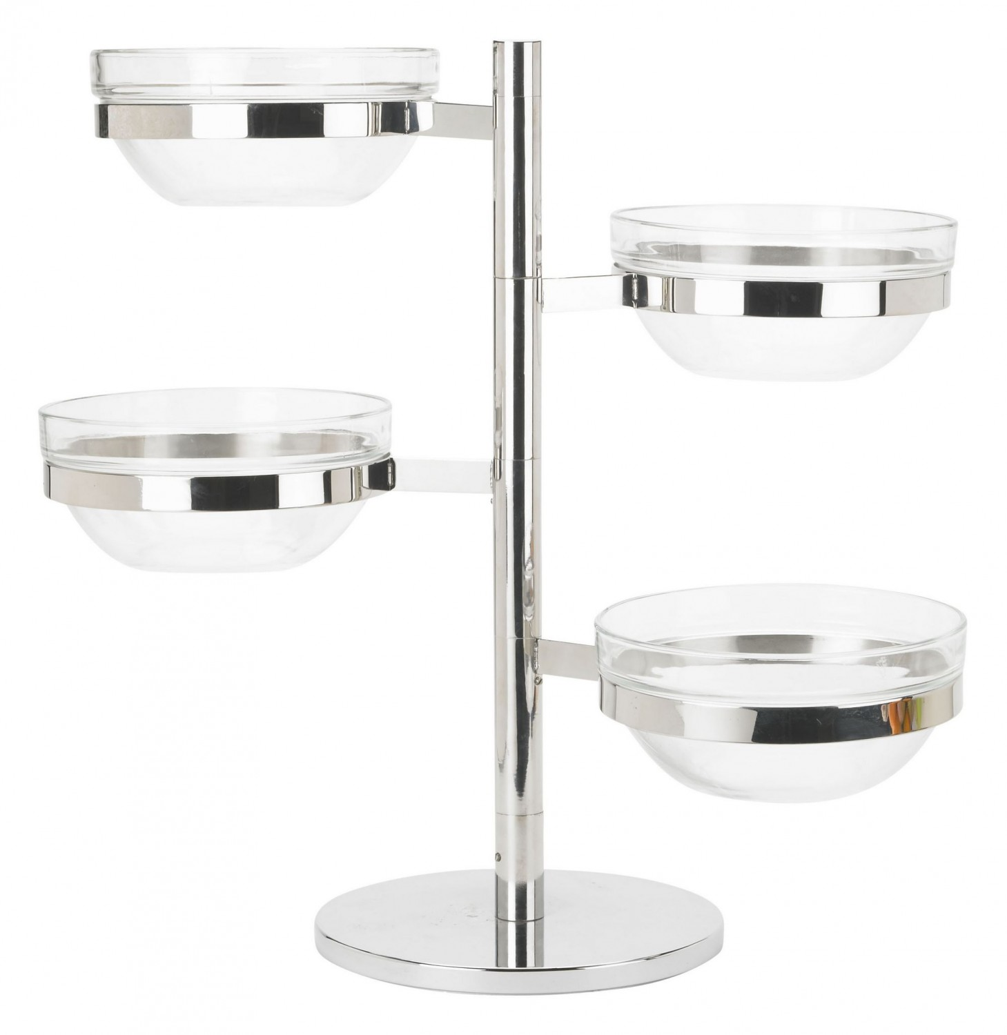 Winco TDSF-4 4-Tier Swing Arm Glass Bowl Display Set