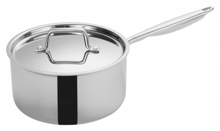Winco TGAP-5 Tri-Ply Induction Ready Sauce Pan with Cover 4.5 Qt.