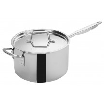 Winco TGAP-7 Tri-Ply Induction Ready Sauce Pan with Cover 7 Qt.