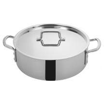 Winco TGBZ-12 Tri-Ply Induction Ready Brazier with Cover, 12 Qt.