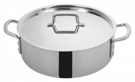 Winco TGBZ-12 Tri-Ply Induction Ready Brazier with Cover 12 Qt.