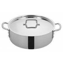 Winco TGBZ-14 Tri-Ply Induction Ready Brazier with Cover, 14 Qt.