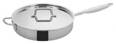 Winco TGET-6 Tri-Ply Induction Ready Saute Pan with Cover and Helper Handle 6 Qt.
