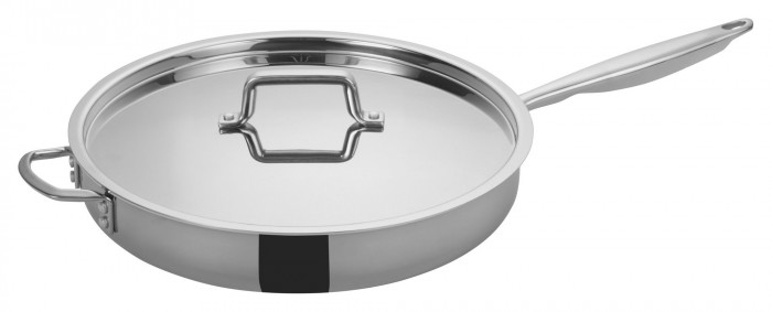 Winco TGET-7 Tri-Ply Induction Ready Saute Pan with Cover and Helper Handle 7 Qt.