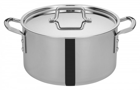 Winco TGSP-12 Tri-Ply Induction Ready Stock Pot with Cover, 12 Qt.