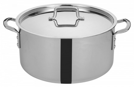 Winco TGSP-20 Tri-Ply Induction Ready Stock Pot with Cover, 20 Qt.