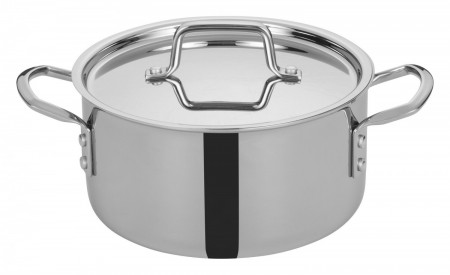 Winco TGSP-4 Tri-Ply Induction Ready Stock Pot with Cover 4.5 Qt.