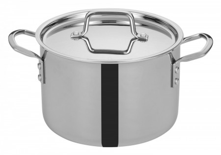 Winco TGSP-6 Tri-Ply Induction Ready Stock Pot with Cover 6 Qt.