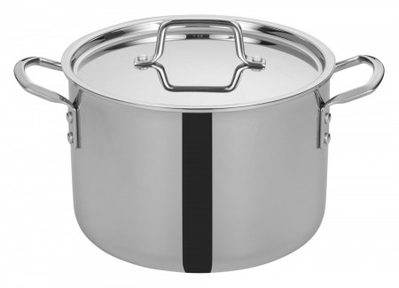 Winco TGSP-8 Tri-Ply Induction Ready Stock Pot with Cover 8 Qt.