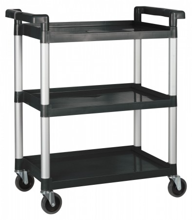 Winco UC-2415K Black 3-Tier Utility Cart  32″L x 16-1/8″W x 36-3/4″H