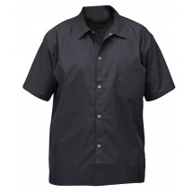 Winco UNF-1KS Small Black Poly-Cotton Blend Short Sleeved Chef Shirt