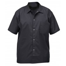 Winco UNF-1KXL X Large Black Poly-Cotton Blend Short Sleeved Chef Shirt
