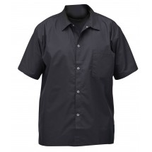 Winco UNF-1KXXL 2X Large Black Poly-Cotton Blend Short Sleeved Chef Shirt