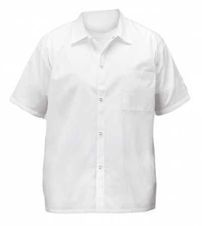 Winco UNF-1WL Large White Poly-Cotton Blend Short Sleeved Chef Shirt