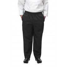 Winco UNF-2KL Large Black Poly-Cotton Blend Relaxed Fit Chef Pants